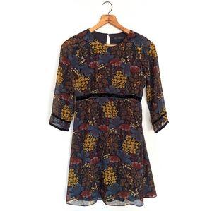 Zara Dark Floral Velvet Trim Dress